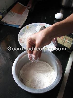 Add salt to flour
