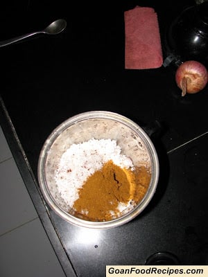 blending masala with coconut