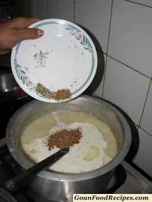 add the cardamom and nutmeg powder